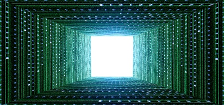 binary matrix: green matrix tunnel and light at the end