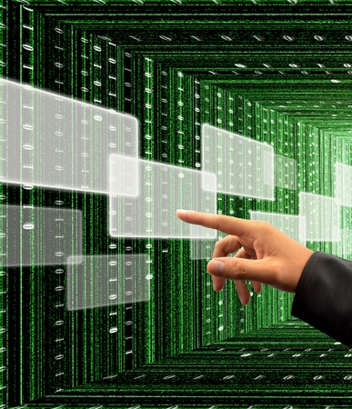binary matrix: hand pushing a button on a touch screen interface with digital matrix background Stock Photo