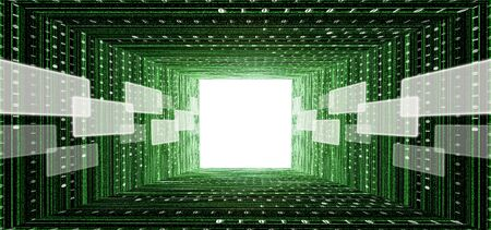 tunnel light: green matrix tunnel with touch screen interface and light at the end Stock Photo