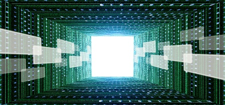 zero: green matrix tunnel with touch screen interface and light at the end Stock Photo
