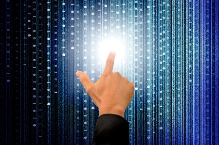 hand pushing a button on a touch screen interface with digital matrix background Stock Photo - 10051603