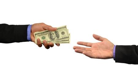 cash in hand: hombre de negocios con dinero en mano  Foto de archivo