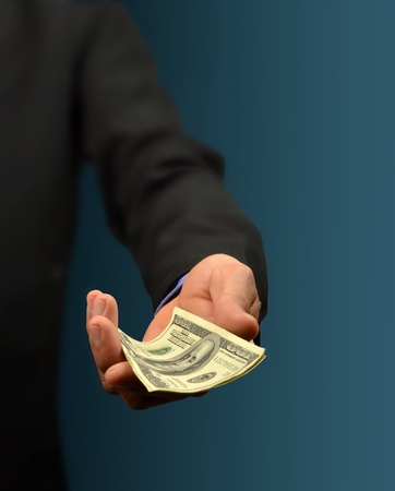business man holding money in hand Stock Photo - 10082992
