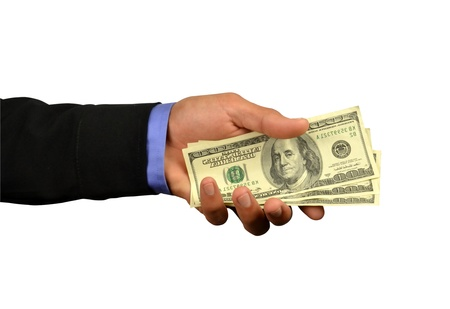 earn money: business man holding money in hand