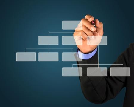 organigrama: empresario dibujar un organigrama en un tablero blanco  Foto de archivo