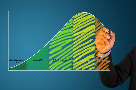 businessman write a business life cycle graph photo