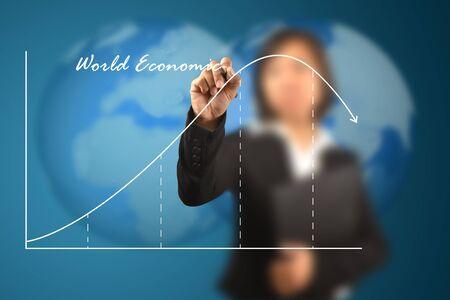 working women write business life cycle graph Standard-Bild