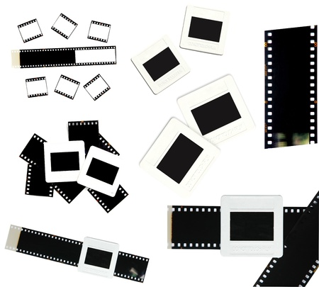 35mm film and slide frame isolated on white background photo
