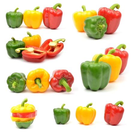 red chilli pepper plant: Fresh colorful paprika,bellpepper isolated on white background