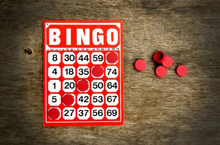 Red bingo card with winning chips  Stock Photo