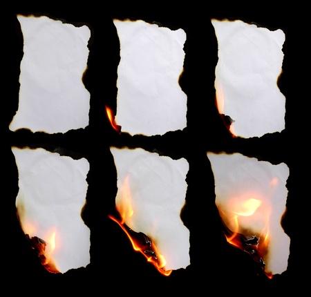 burning paper in dark background