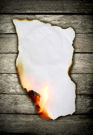 burn: Burning paper on wooden wall