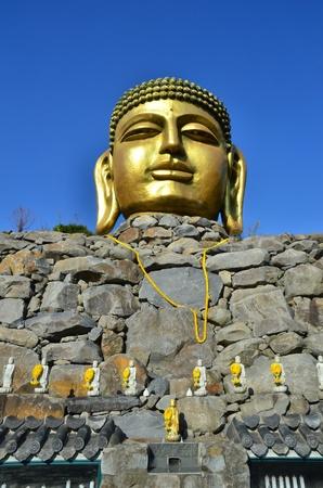 respecting: Giant statue of Buddha in wowoojongsa temple korea Stock Photo