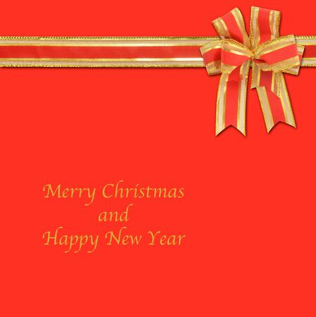 cristmas card: christmas gift with decorative red and gold ribbon bow