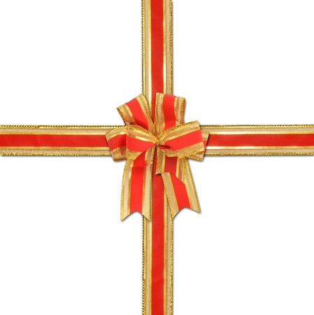 cristmas: christmas gift with decorative red and gold ribbon bow