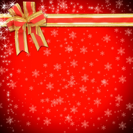 cristmas card: christmas gift with decorative red ribbon bow Stock Photo