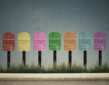 7 color postbox, vintage photo style photo