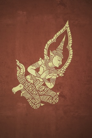 deva mural in temple pavillion ,vintage photo style photo