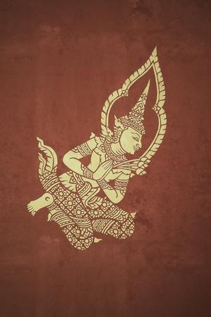asian angel: deva mural in temple pavillion ,vintage photo style Stock Photo