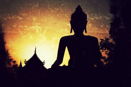 big buddha sculpture silhouette view Stock Photo - 12942973
