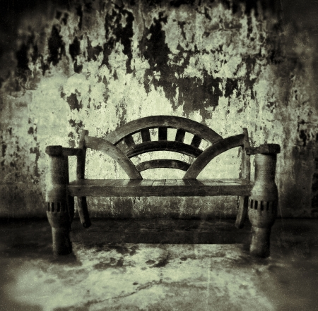 abandoned room: wooden bench in old room