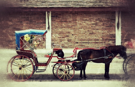 horse cart: carriage vintage style in lampang northern thailand