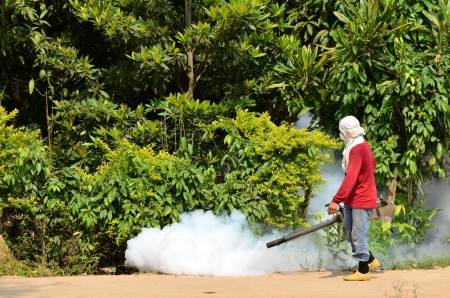 man Fogging to prevent spread of dengue fever in thailand Editorial