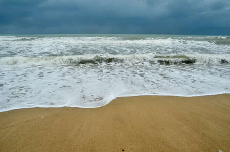 monsoon clouds: tropical beach in monsoon season