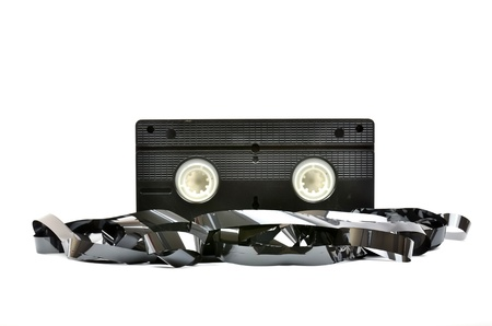 video cassette tape: Old  vhs video cassette isolated on white background