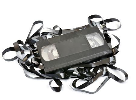 tape recorder: Antiguo casete de video vhs aislada en el fondo blanco
