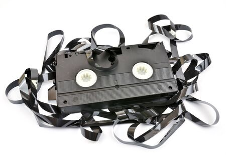 Old  vhs video cassette isolated on white background photo
