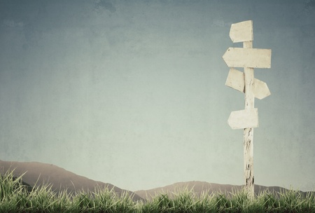 arrow wood: vintage picture of signpost