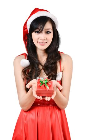 Santa woman  holding a gift box isolated on white background photo