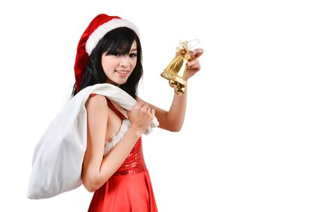 Santa woman holding a white bagisolated a on white background