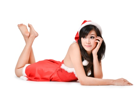 sexy asian girl: pretty Santa woman Isolated on white background