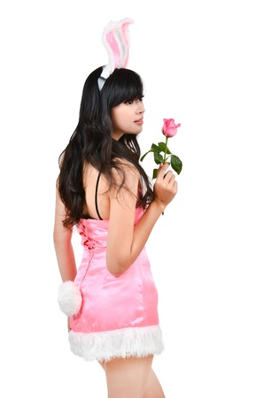 Sexy bunny girl hold pink rose Isolated on white background Stock Photo - 17159512