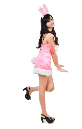 asian bunny: Sexy bunny girl Isolated on white background Stock Photo