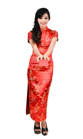 china people: pretty women with cheongsam ,In Chinese new year a red packet is a monetary gift