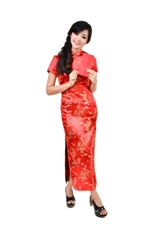 pretty women with cheongsam ,In Chinese new year a red packet is a monetary gift photo