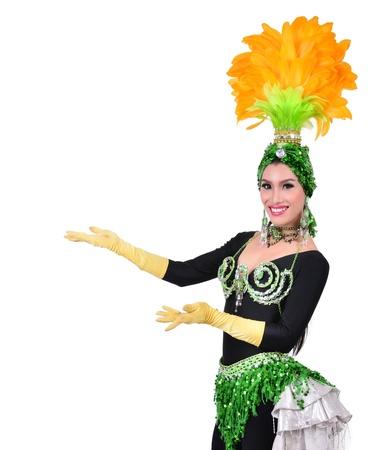 cabaret dancer isolated on a white background photo