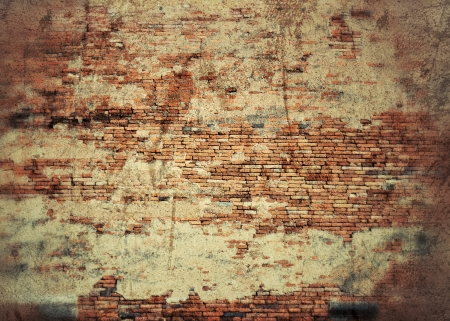 old weathered stained red brick wall background photo