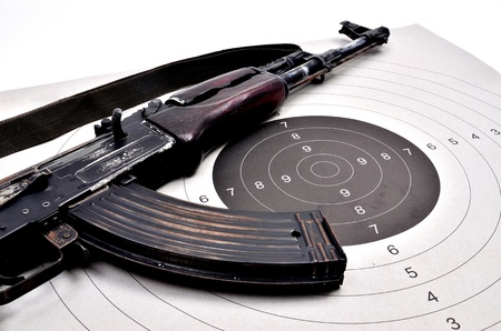 bb gun: ak 74 on a paper target