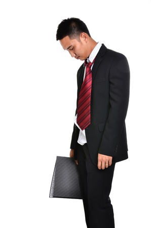 worry business man isolated on white background photo