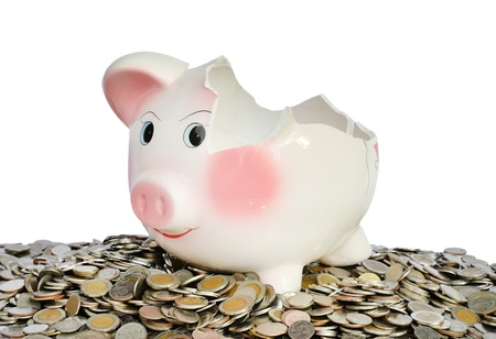 retirement fund: Pink piggy bank broken with money isolated on white background Stock Photo