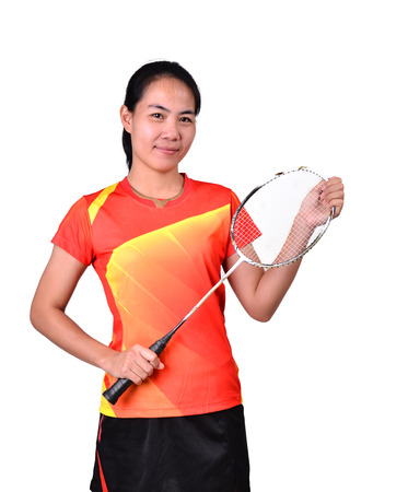 badminton player in action isolated on white background photo