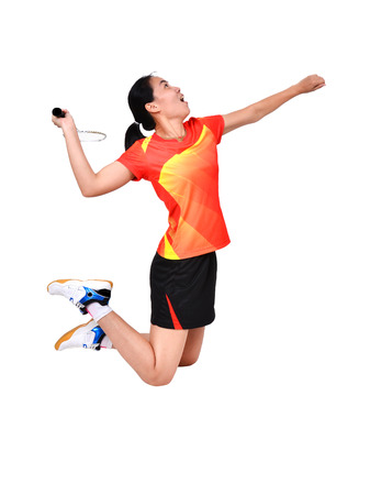 badminton player in action isolated on white background Archivio Fotografico