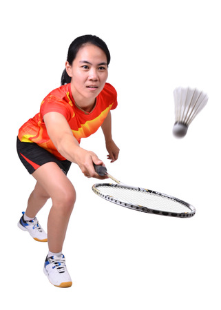 badminton player in action isolated on white background Foto de archivo