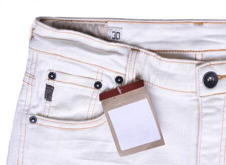 trouser: new trouser with price tag Stock Photo