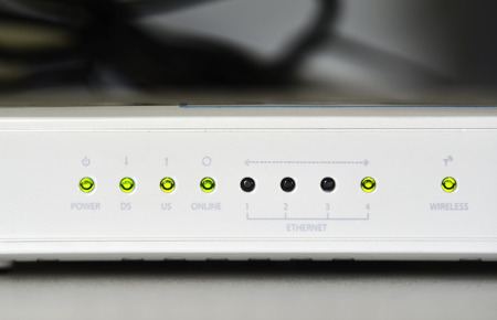 wlan: this is an adsl wifi router modem Stock Photo