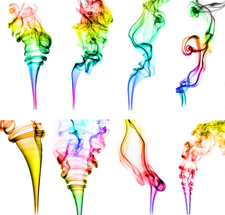 textured of colorful incense smoke on white background photo